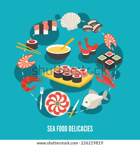 Sea food fish menu restaurant japanese delicacies flat decorative icons set vector illustration - stock vector