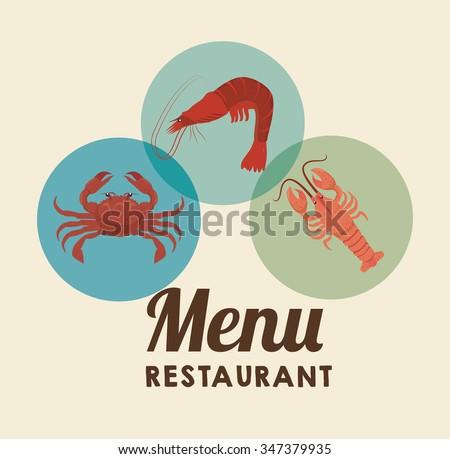 Sea food gastronomy graphic design, vector illustration eps10 - stock vector