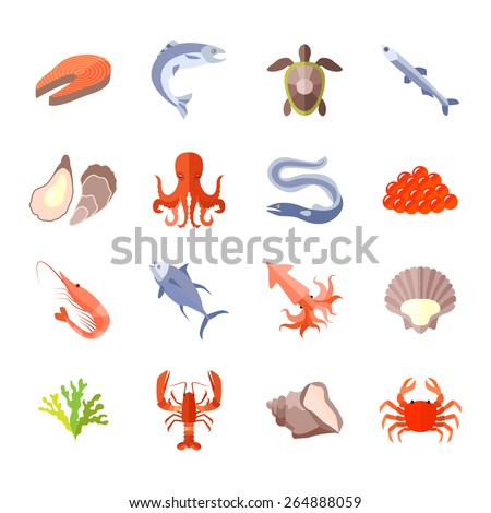 Sea food icon flat set with lobster salmon shrimp isolated vector illustration - stock vector