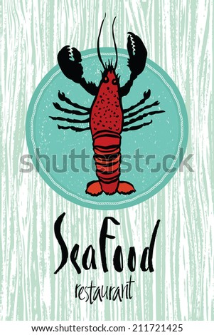Sea Food restaurant design card with lobster - stock vector