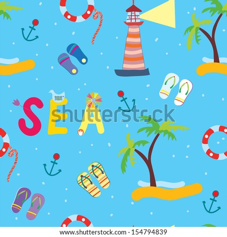 Sea funny seamless pattern for kids