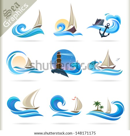 Sea Graphics Series - Premium Sea Travel Symbols - stock vector