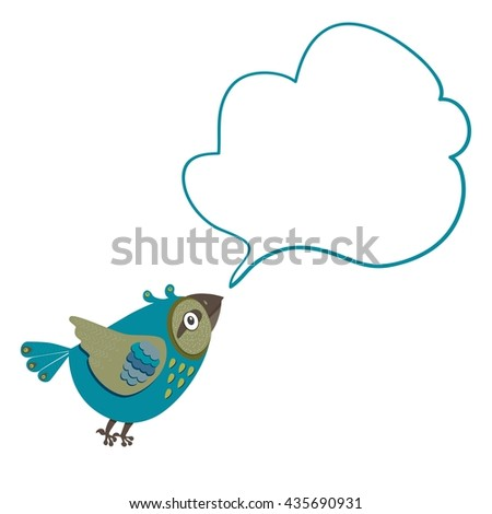 Sea-green bird with a cloud of thoughts. Vector Illustration