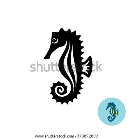 Sea horse elegance black silhouette logo with color version - stock vector