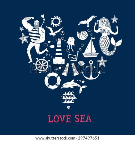 Sea icons grungy cartoon set with sailor, lighthouse, mermaid, ship and other. Heart shape postcard. Illustrations for your design. - stock vector