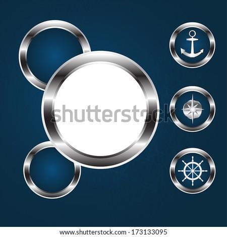 Sea icons, round porthole, vector.  - stock vector