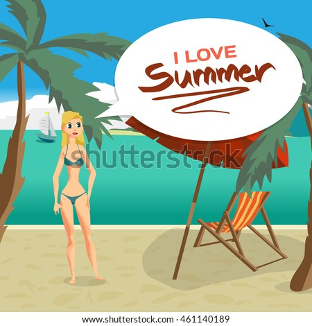 Sea landscape beach, palm tree, sun umbrella, chaise. Woman in swimsuit on background seascape with island and yacht. I love summer speech baloon. Vector flat cartoon illustration