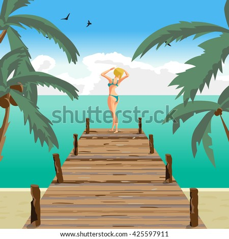 Sea landscape summer beach, old wooden pier. Blonde woman dressed in green swimsuit is standing sunbathe on the sun raising his hands. Vector cartoon flat illustration - stock vector