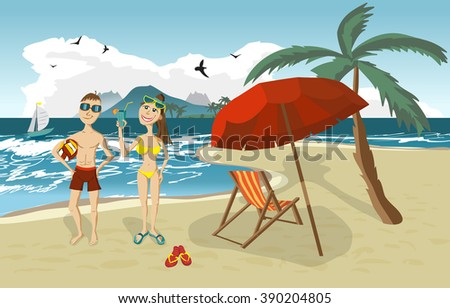 Sea landscape summer beach, palm tree, sun umbrellas, beach beds. Couple, man and woman in swimsuit on background seascape with island and yacht. Couple summer beach. Vector flat illustration - stock vector