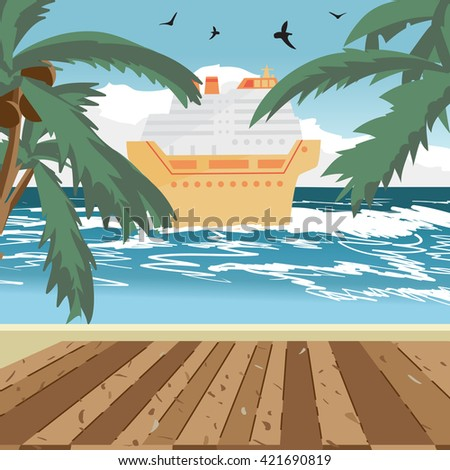 Sea landscape summer beach, wooden floor, cruise ship in the distance. View with palm trees on a beach in summer evening vacation. Evening summer background on beach. Vector flat illustration - stock vector