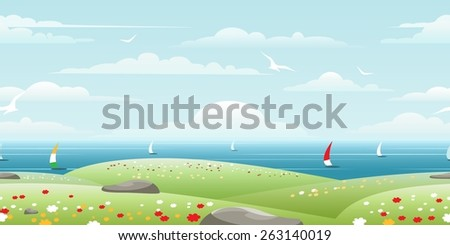 Sea landscape with sails on horizon seamless pattern - stock vector