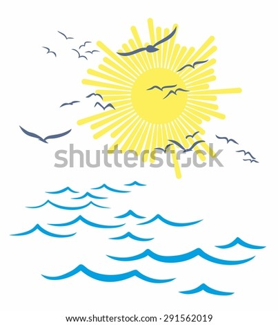 Sea landscape with seagulls. - stock vector