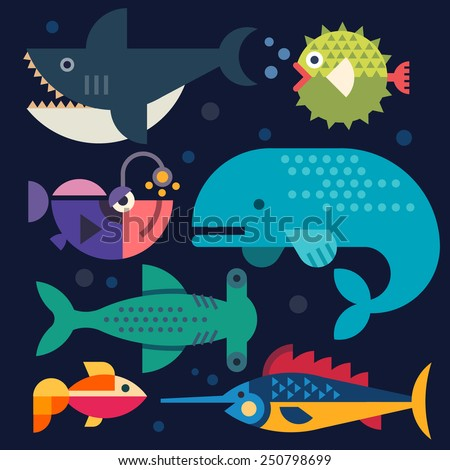 Sea life. Big fish: whale, shark, swordfish, fish. Vector flat illustrations - stock vector