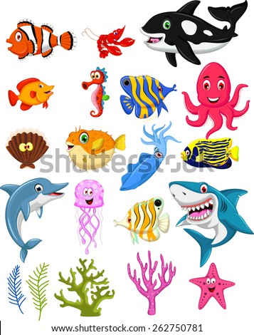 sea life cartoon collection - stock vector
