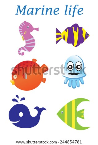 Sea life cartoon set. Marine life - stock vector
