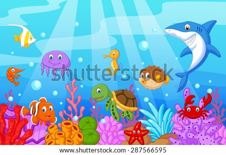 Sea life cartoon with fish collection set - stock vector