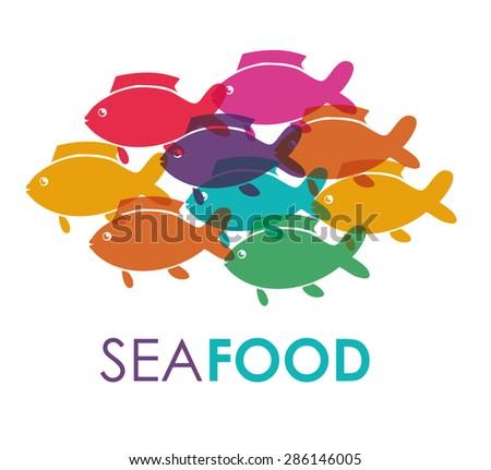 Sea life design over white background, vector illustration - stock vector