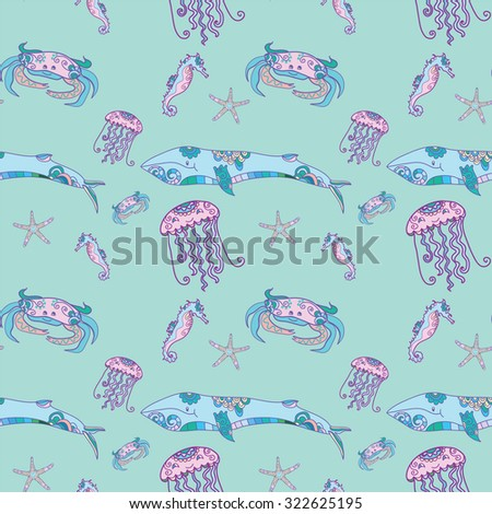 Sea life doodles seamless pattern