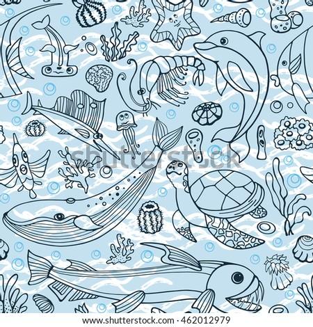 Set Vector Cartoons On Deep Underwater Vectores En Stock
