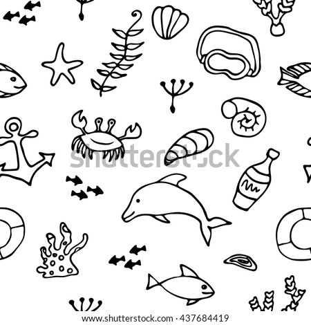 Sea life set doodle elements, seamless pattern. Vacation design vector illustration. Black on white background. - stock vector