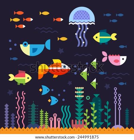 Sea life. Underwater world. Fish, jellyfish, sea bottom, algae, treasure. Vector flat illustrations  and icon set - stock vector