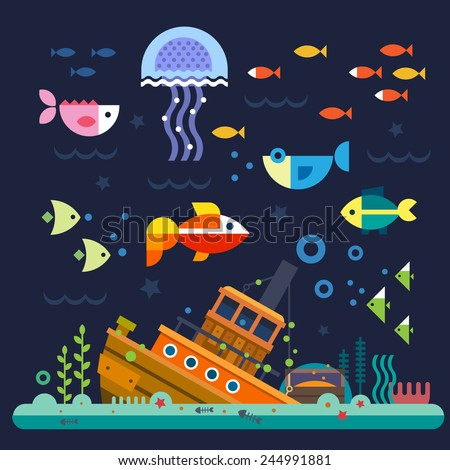 Sea life. Underwater world. Fish, jellyfish, sea bottom, backwaters ship, algae, treasure. Vector flat illustrations  and icon set - stock vector