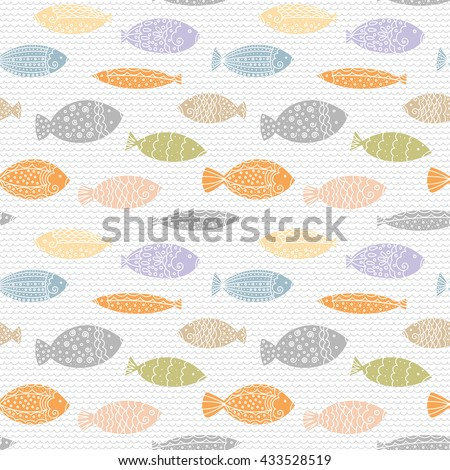 Sea life watercolor pattern with fishes. Marine background. Seamless wallpaper. - stock vector