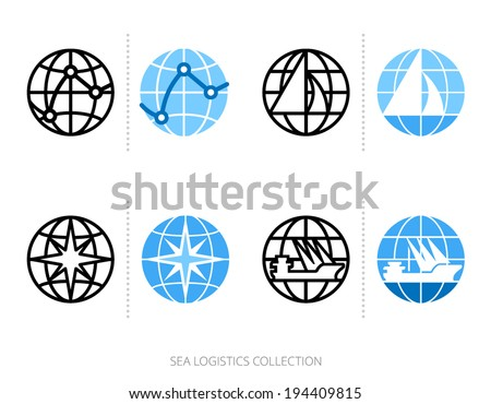 Sea logistics and transportation icon set with globe, logo template. Vector graphics collection. - stock vector