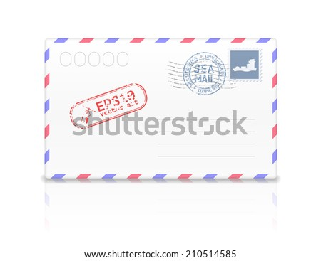 Sea mail envelope with postal stamp isolated on white background. Vector illustration - stock vector
