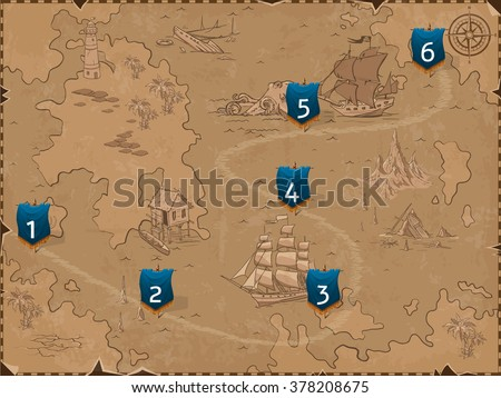 Sea map with flags. Retro styled map of the sea. Vector design for app game user interface - stock vector