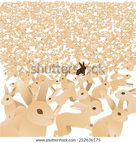 Sea of cute bunnies with one chocolate brown bunny. EPS 10 Vector royalty free stock illustration greeting card, marketing, blog, invitation, social media, illustrate overpopulation, individuality - stock vector