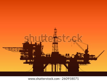 Sea oil rig at sunset. Oil drilling platform in the sea. Detailed vector illustration. - stock vector