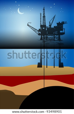Sea Oil Rig Drilling Platform, vector illustration - stock vector