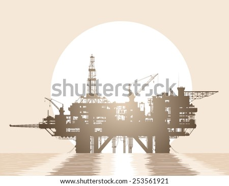 Sea oil rig. Oil platform in the deep sea over rising sun. Detailed vector illustration.  - stock vector