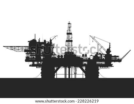 Sea oil rig. Oil platform in the sea. Detailed vector illustration. - stock vector