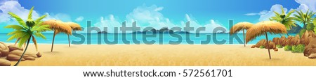 Sea panorama, Tropical beach vector background