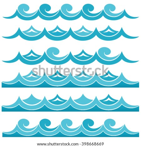 sea pattern, sea wave, ocean waves - stock vector