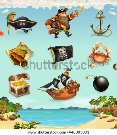 Sea pirates, funny character and objects, vector icon set - stock vector