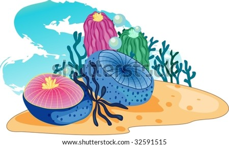 Sea-plants accompanied by bubbles blow in a strong current - stock vector