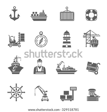 Sea port black icons set with ships and marine transport isolated vector illustration - stock vector