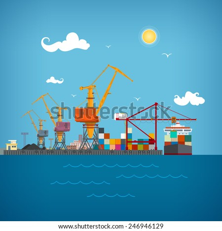 Sea port, unloading of cargo containers from the container carrier,cranes  load containers on the container ship or unload, sea freight transportation , vector illustration - stock vector