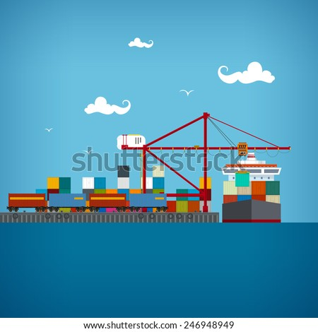 Sea port, unloading of cargo containers from the container carrier,cranes load containers on the container ship or unload, cargo the train transports containers , sea freight transportation, vector - stock vector