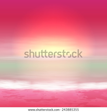 Sea purple sunset. Tropical background. EPS10 vector. - stock vector