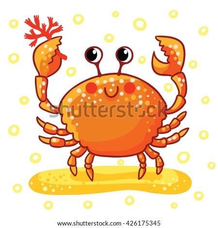 Sea  ?rab. Cute cartoon Sea ?rab isolated. Smiling red Sea ?rab on a white background, vector illustration. - stock vector