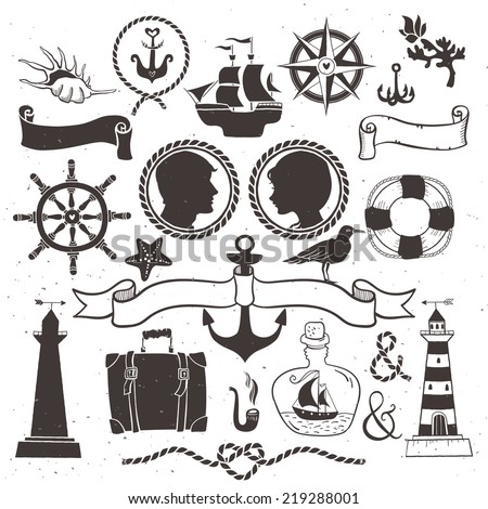 Sea romantic travel. Vintage hand drawn elements in nautical style.