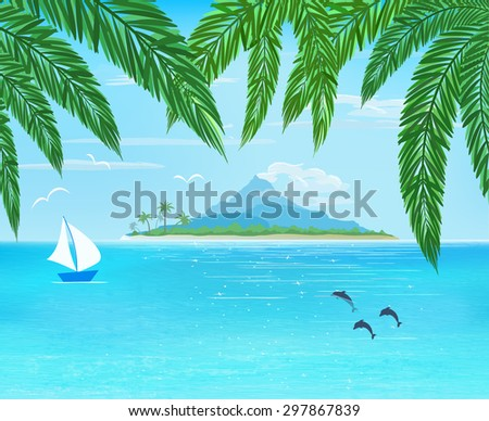 sea, sailboard, island with mountain on horizon, palm leaves on foreground,  vector illustration - stock vector