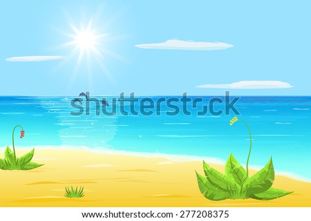 sea, sand, exotic plant, tree dolphins in sea, sun and cloud on blue sky
