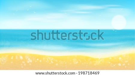 Sea,sandy beach and sun.Summer background. - stock vector