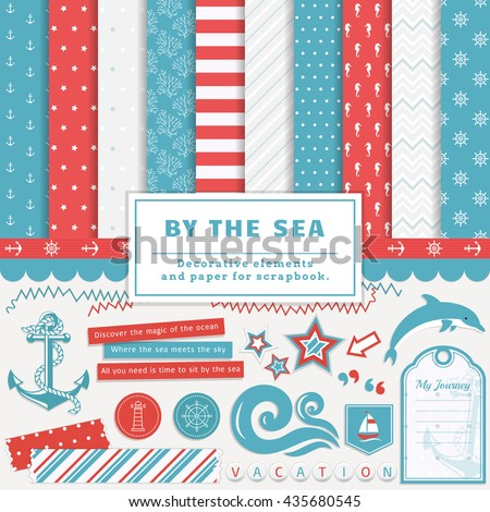 Sea scrapbooking kit. Collection of decorative elements and cute papers for creativity - to create scrapbook album or postcard in a nautical style. Vector illustration in blue, red and white colors. - stock vector