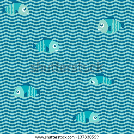 Sea seamless pattern background. Fish on the waves. Vector illustration. EPS 10 - stock vector